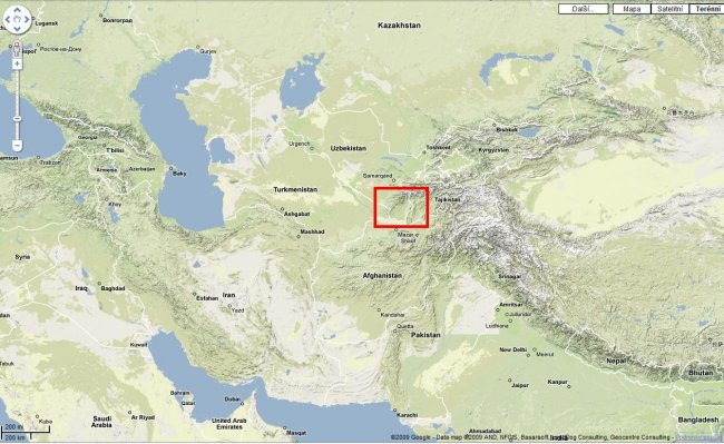 Fig. 10 Map of Asia, southern Uzbekistan marked, source: Google Maps